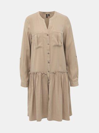 Béžové košilové šaty VERO MODA Michalla