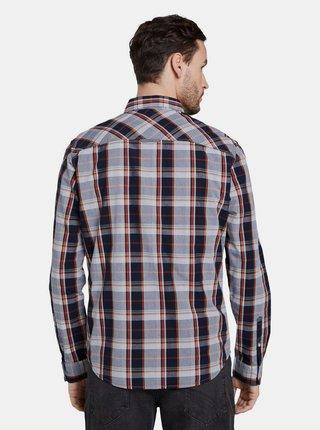 Modrá pánska kockovaná regular fit košeľa Tom Tailor
