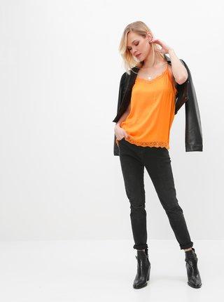 Oranžový top s krajkou VILA Ava