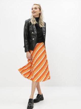 Oranžová pruhovaná plisovaná midi sukně ONLY Agnes