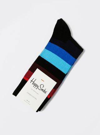 Červeno-černo-modré unisex pruhované ponožky Happy Socks Stripe