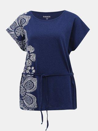 Tmavomodré dámske tričko so zaväzováním SAM 73