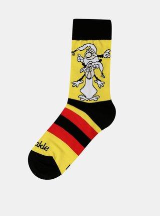 Žlté detské vzorované ponožky Fusakle Křemílek a Vochomůrka