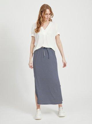 Tmavomodrá pruhovaná basic maxi sukňa VILA Dell