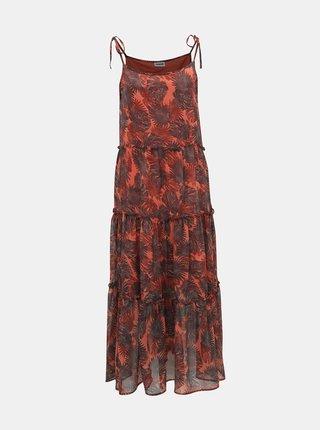 Hnedo-červené kvetované maxišaty Noisy May Palm