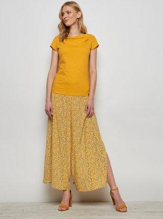 Žlté kvetované voľné nohavice s rozparkami Tranquillo