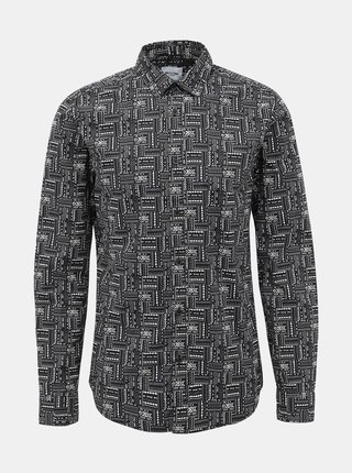Čierna vzorovaná slim fit košeľa ONLY & SONS Elroy