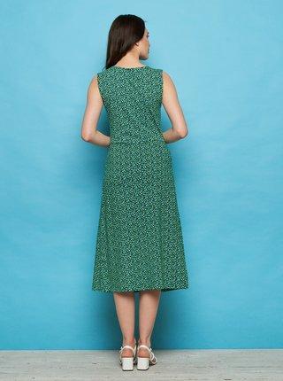 Tmavě zelené vzorované midišaty Tranquillo