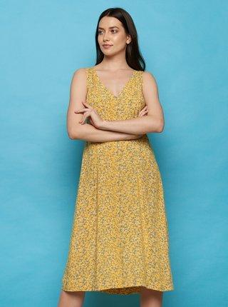 Žlté kvetované midišaty Tranquillo