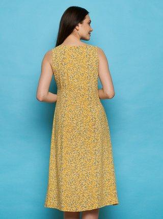 Žluté květované midišaty Tranquillo