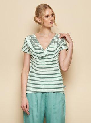 Zeleno-bílé pruhované tričko Tranquillo Aluna