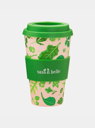 Zeleno-růžový vzorovaný cestovní hrnek Sass & Belle Powered by Plants
