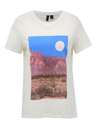 Biele tričko s potlačou VERO MODA Desert
