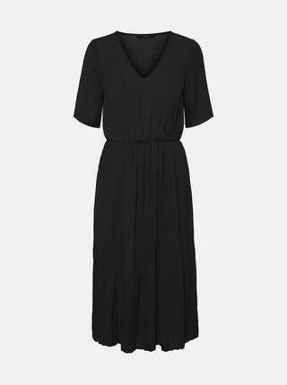 Čierne midišaty s plisovanou sukňou VERO MODA Malou