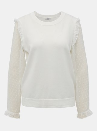 Biela blúzka s krajkovými detailmi Jacqueline de Yong Mixi