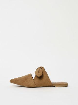 Hnědé pantofle v semišové úpravě Pieces Naya