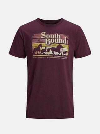 Vínové tričko s potlačou Jack & Jones Harry
