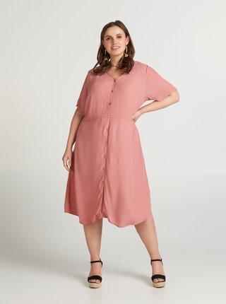 Růžové vzorované šaty Zizzi Idafur