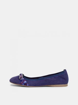 Tmavě modré semišové baleríny Tamaris