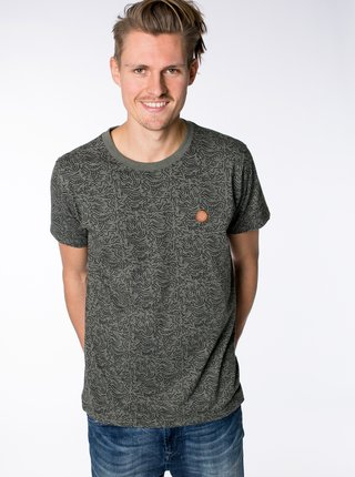 Khaki pánské vzorované tričko Alife and Kickin Nicak
