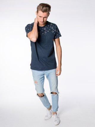 Tmavě modré pánské vzorované tričko Alife and Kickin Leoak