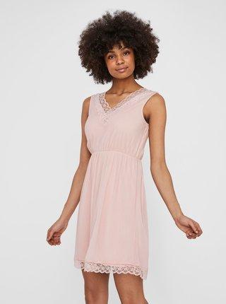 Růžové šaty s krajkou VERO MODA Pernilla