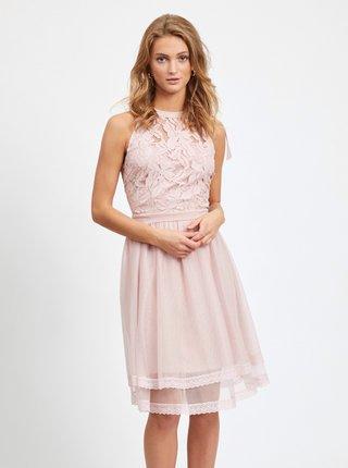 Světle růžové krajkové šaty VILA Zinna