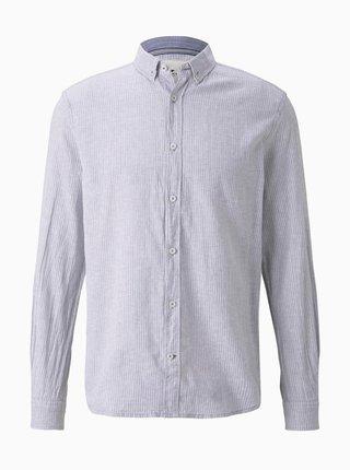Světle šedá pánská lněná košile Tom Tailor