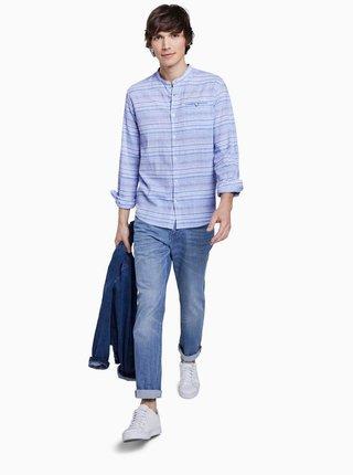 Modrá pánská pruhovaná lněná košile Tom Tailor