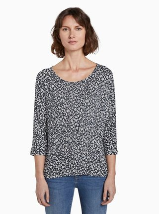 Tmavomodré dámske vzorované tričko Tom Tailor