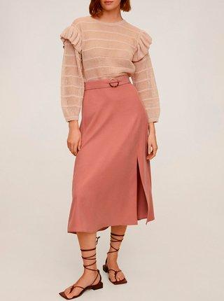 Růžová midi sukně Mango Domenica