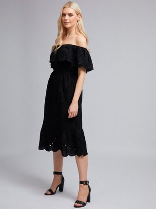 Čierne šaty s madeirou Dorothy Perkins