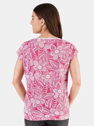 Ružové dámske kvetované tričko SAM 73