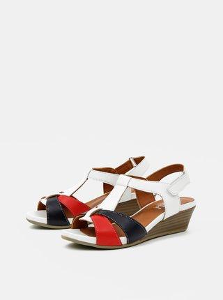 Červeno-bílé kožené sandálky na klínku WILD