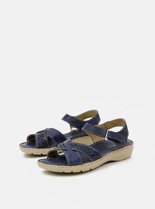 Tmavě modré dámské kožené sandály WILD