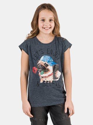 Tmavomodré dievčenské tričko s potlačou SAM 73