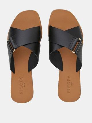 Černé kožené pantofle Pieces Nea