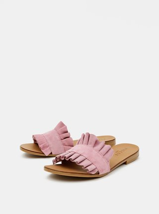 Růžové semišové pantofle Pieces Nynne