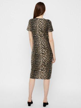 Hnedé šaty s leopardím vzorom AWARE by VERO MODA Gava