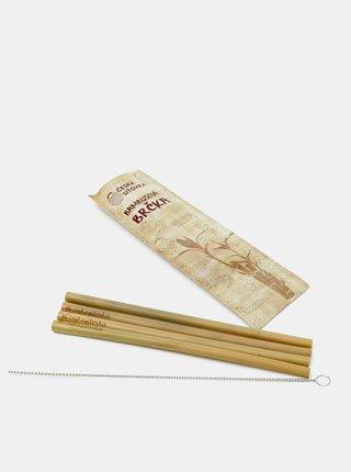 Sada čtyř bambusových brček s čistícím kartáčkem Česká síťovka
