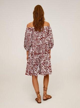 Červené vzorované šaty Mango Alba