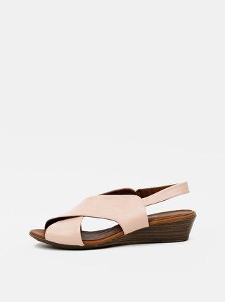 Růžové kožené sandálky na klínku WILD