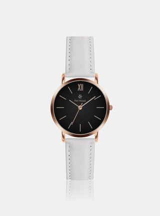 Dámske hodinky s bielym koženým remienkom Paul McNeal