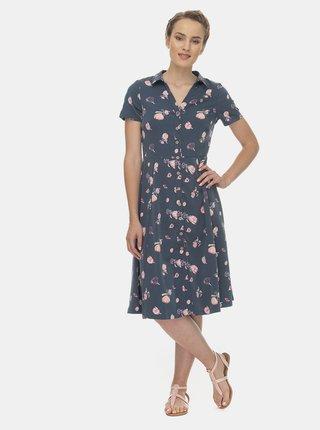Modré květované košilové midi šaty Ragwear