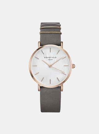 Dámske hodinky s šedým semišovým remienkom Rosefield