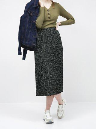 Černo-zelená plisovaná midi sukně se zebřím vzorem VERO MODA Ebony