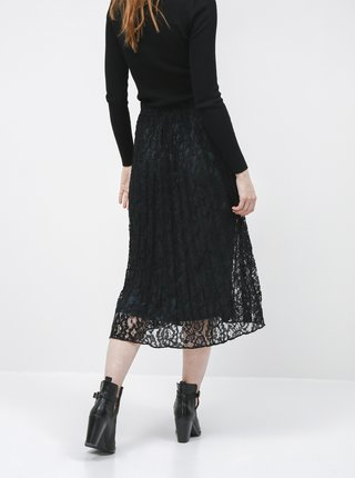 Černá krajková plisovaná midi sukně Tom Tailor Denim