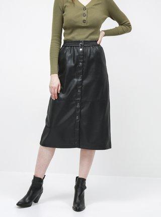 Černá koženková sukně VILA Pulla
