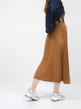 Hnedá plisovaná maxi sukňa Selected Femme Alexis