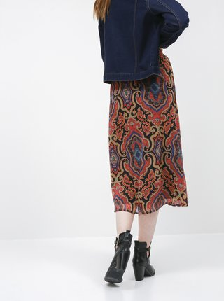 Vínová vzorovaná midi sukňa ONLY Mary